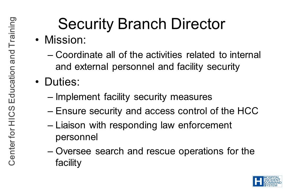 Security Branch Director