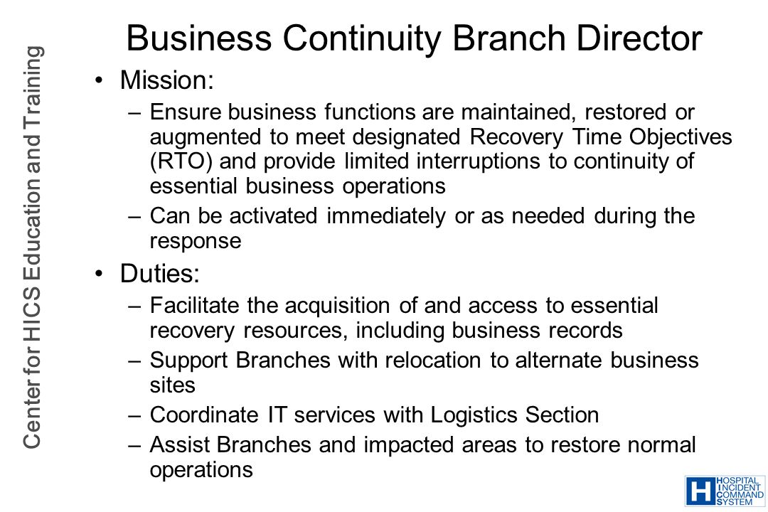 Business Continuity Branch Director