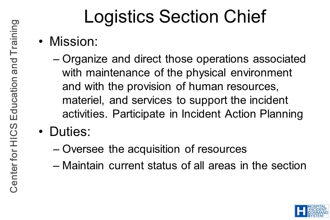Logistics Section Chief