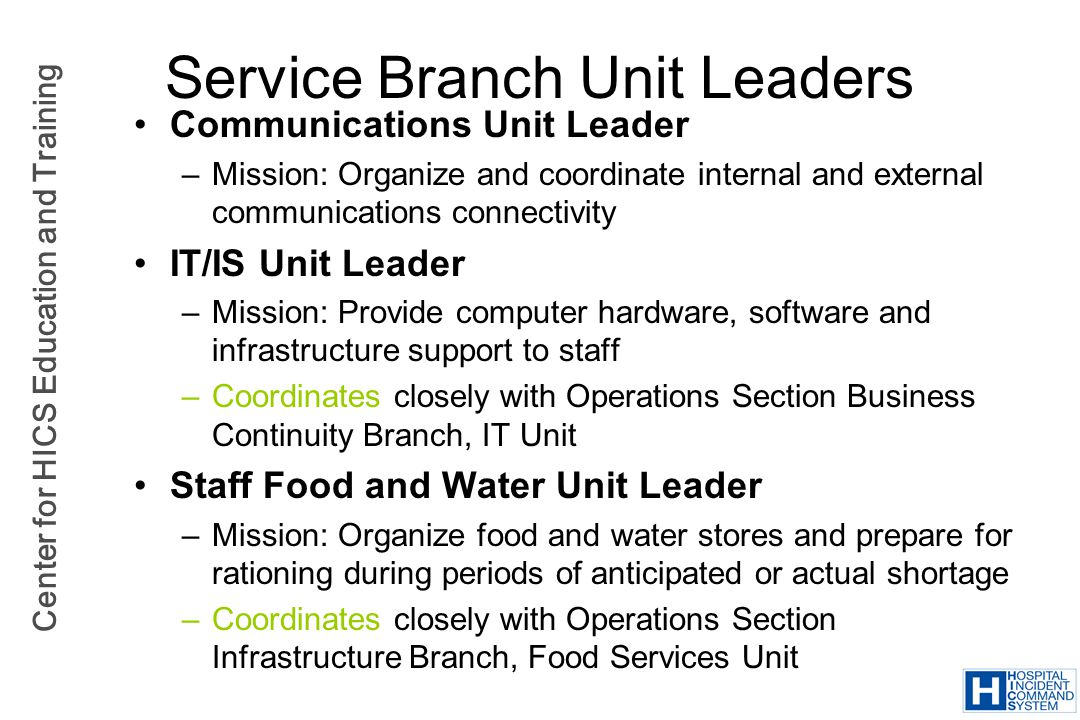 Service Branch Unit Leaders