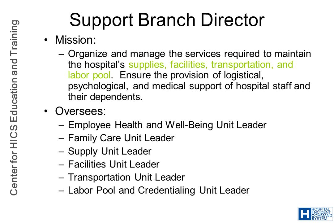 Support Branch Director