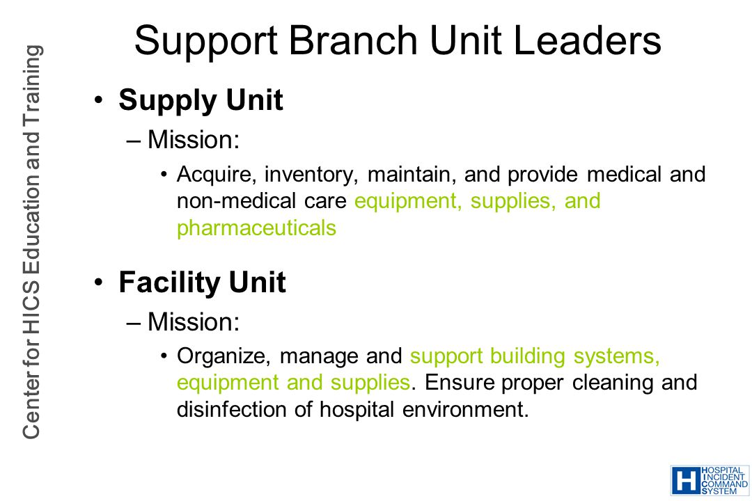 Support Branch Unit Leaders