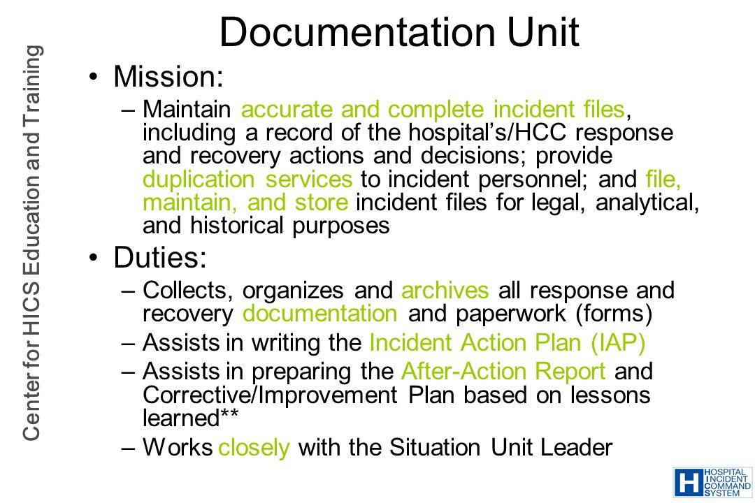 Documentation Unit Mission: Duties:
