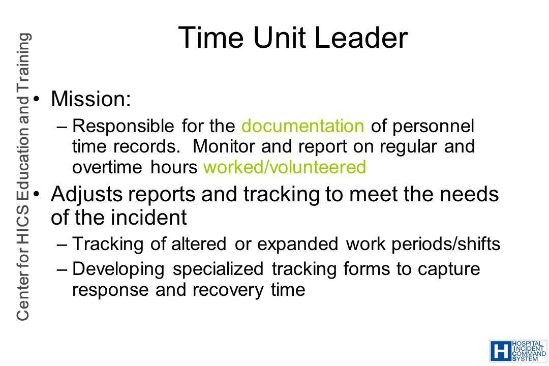 Time Unit Leader Mission: