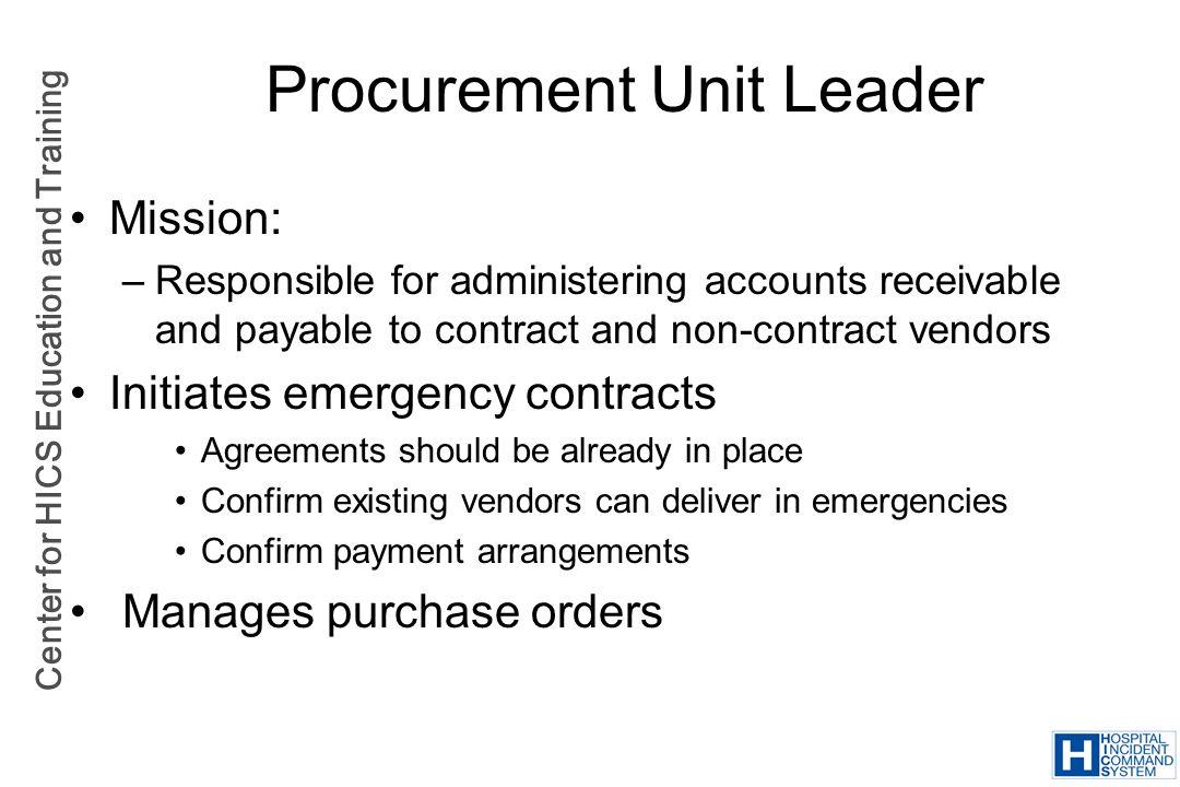 Procurement Unit Leader