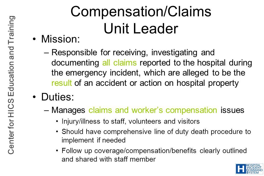 Compensation/Claims Unit Leader