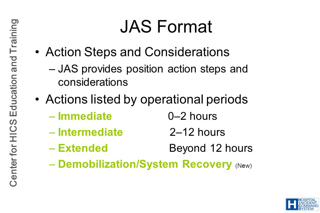 JAS Format Action Steps and Considerations