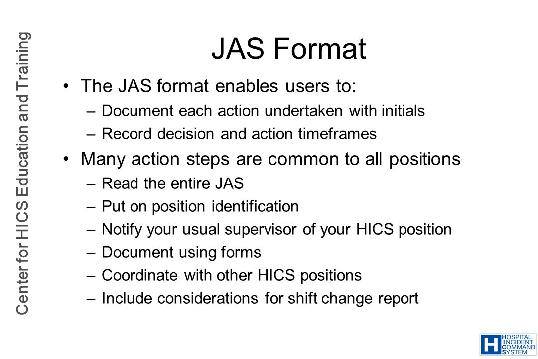 JAS Format The JAS format enables users to: