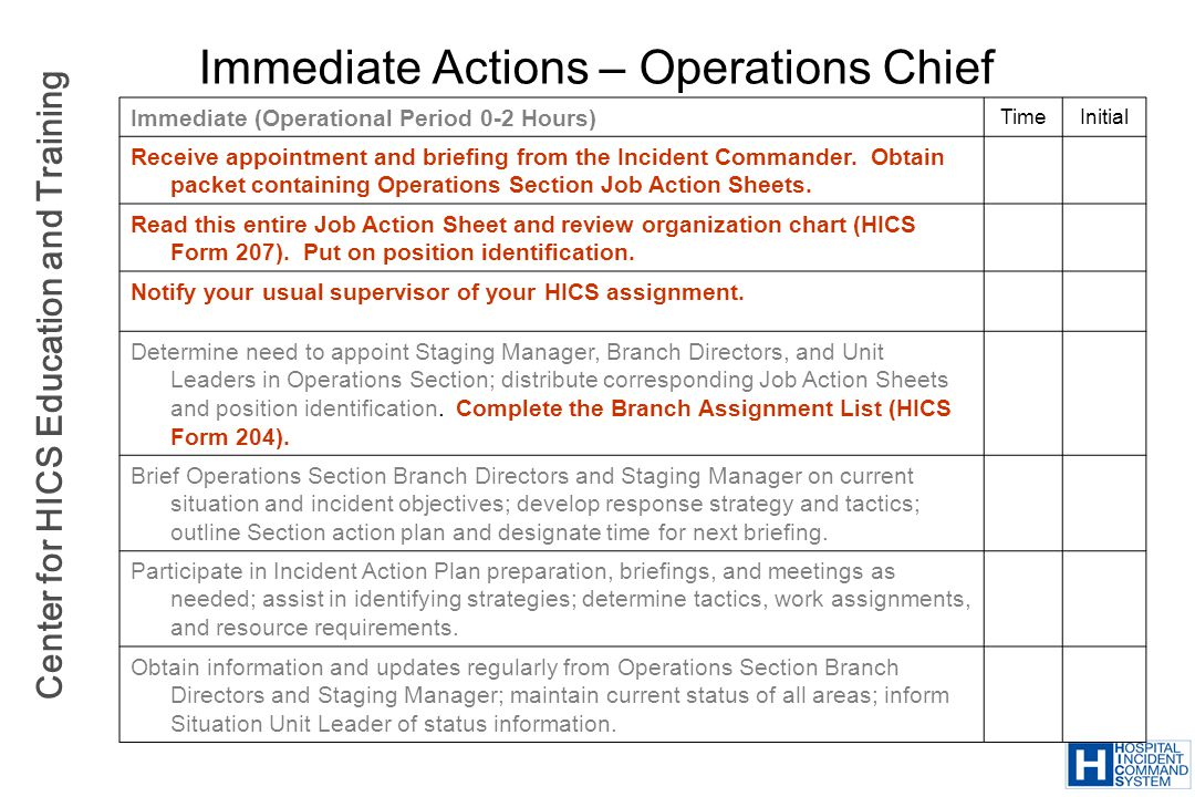 Immediate Actions – Operations Chief