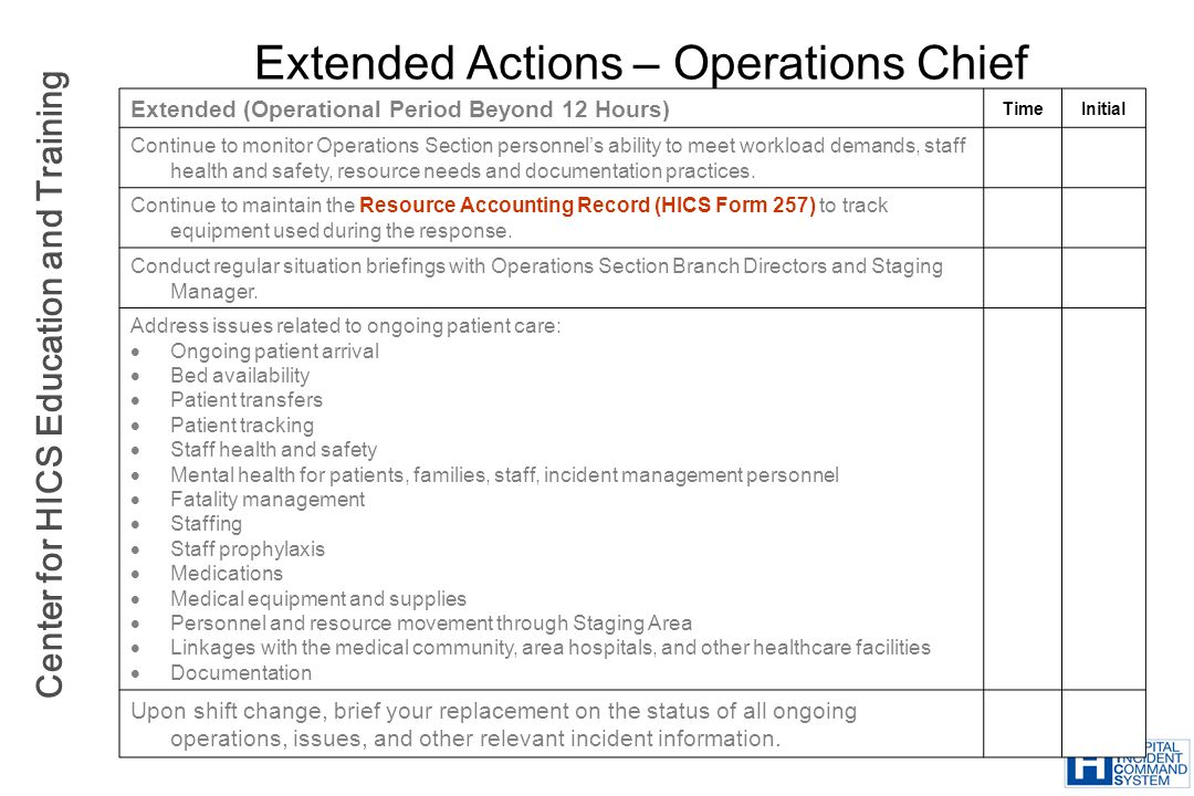 Extended Actions – Operations Chief