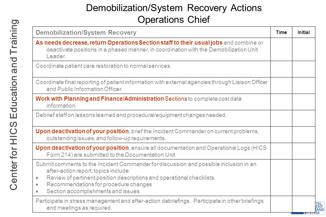 Demobilization/System Recovery Actions Operations Chief