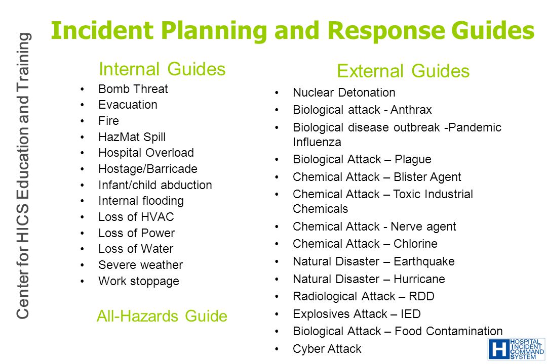 Incident Planning and Response Guides