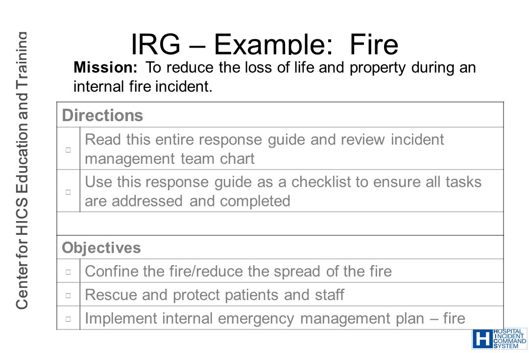 IRG – Example: Fire Directions