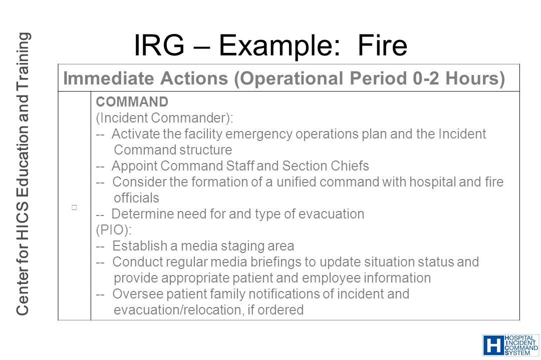 IRG – Example: Fire Immediate Actions (Operational Period 0-2 Hours)