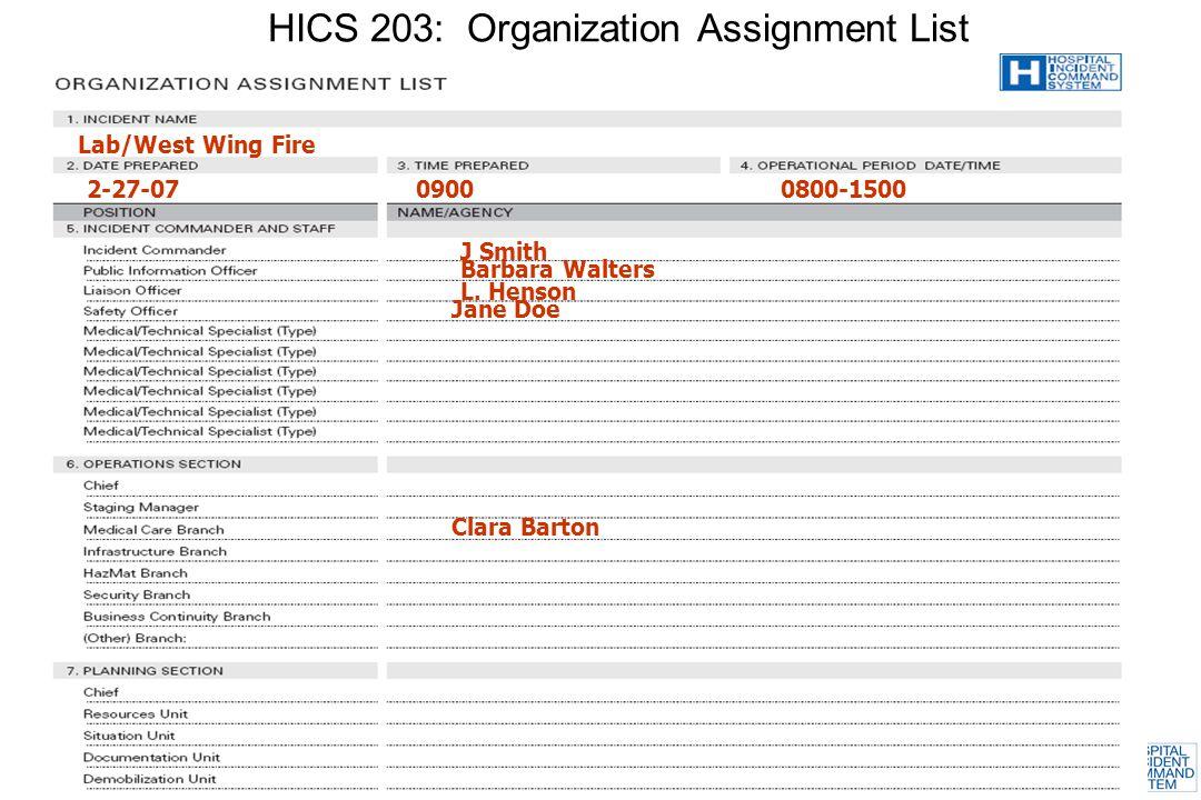 HICS 203: Organization Assignment List