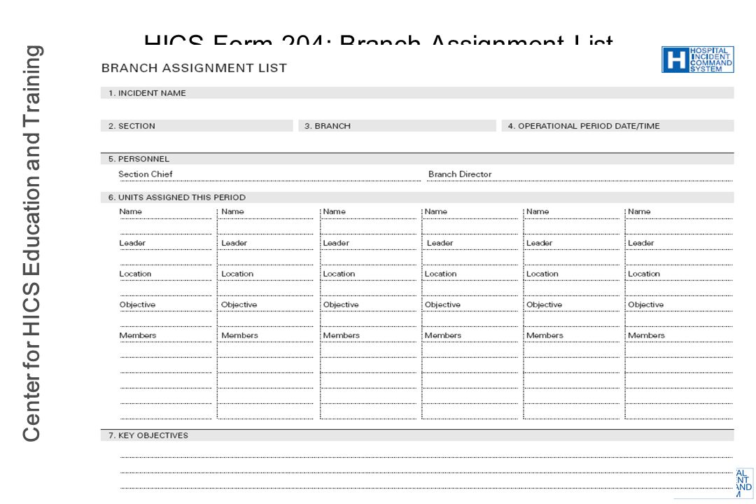 HICS Form 204: Branch Assignment List
