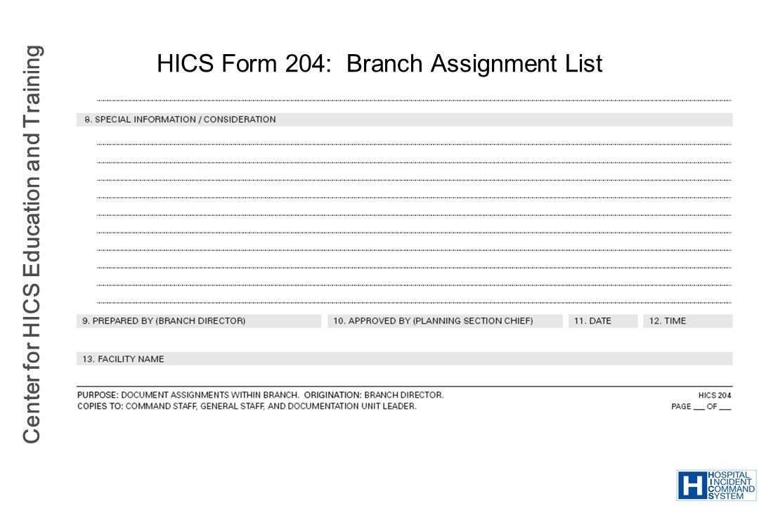 HICS Form 204: Branch Assignment List