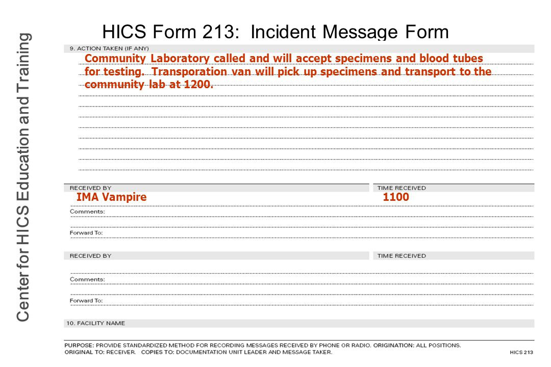 HICS Form 213: Incident Message Form