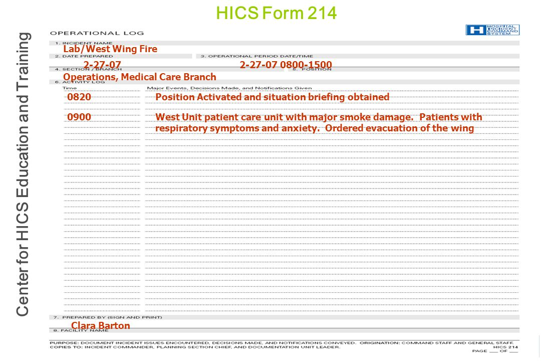 HICS Form 214 Lab/West Wing Fire 2-27-07 2-27-07 0800-1500