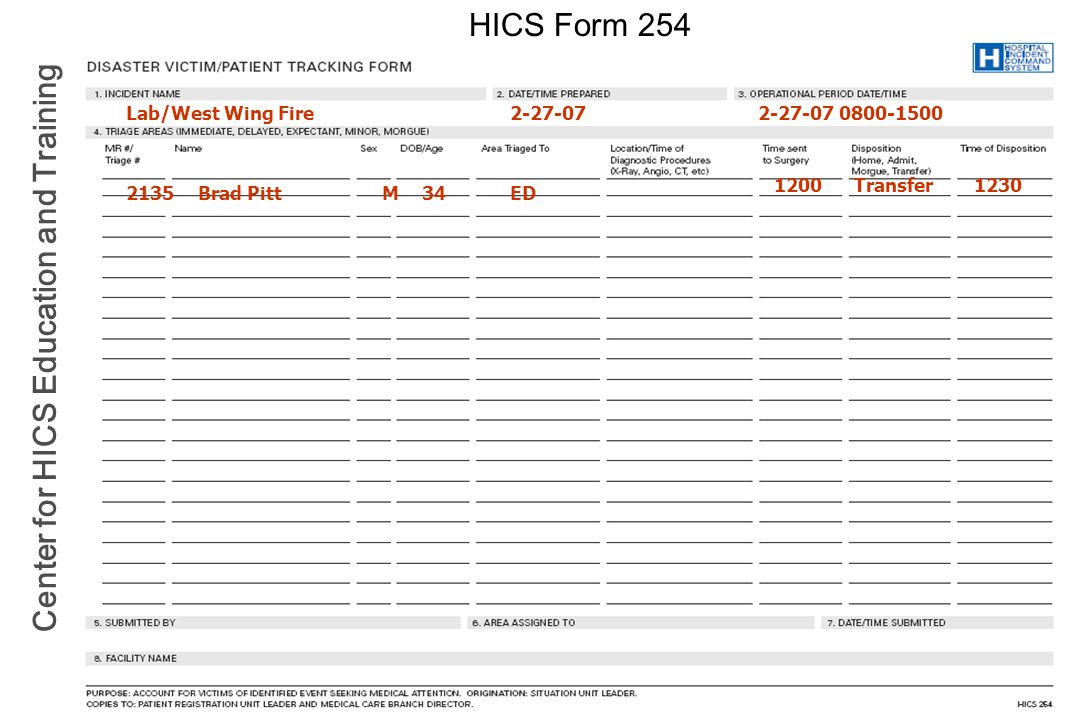 HICS Form 254 Lab/West Wing Fire 2-27-07 2-27-07 0800-1500 1200