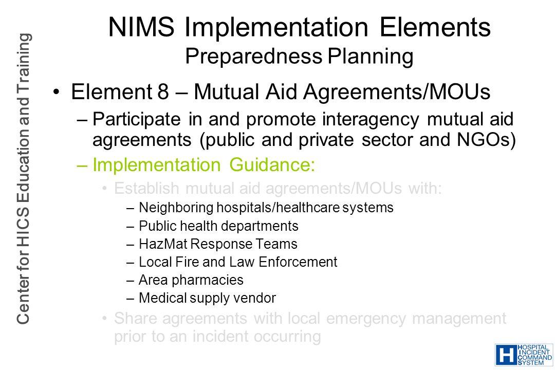 NIMS Implementation Elements Preparedness Planning