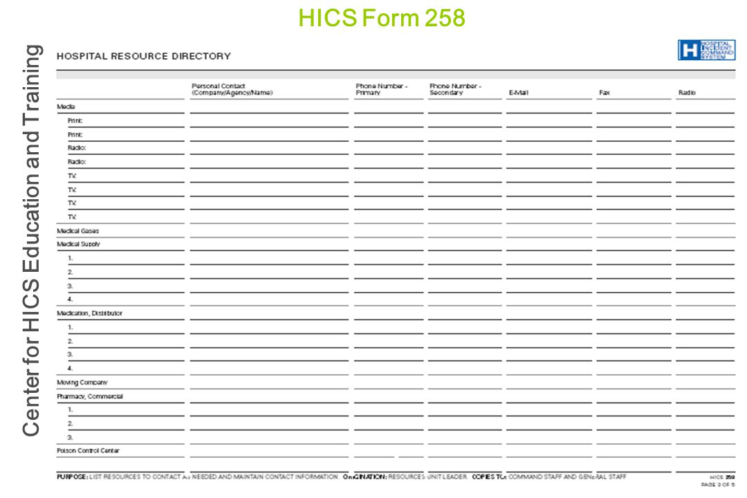 HICS Form 258