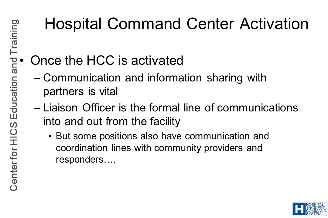 Hospital Command Center Activation
