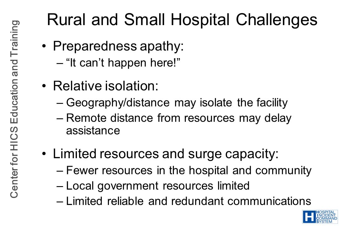 Rural and Small Hospital Challenges
