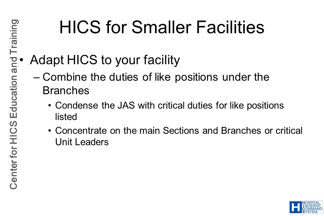 HICS for Smaller Facilities