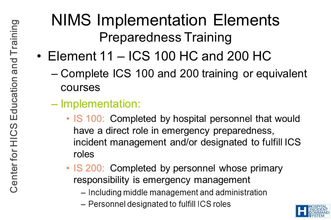 NIMS Implementation Elements Preparedness Training