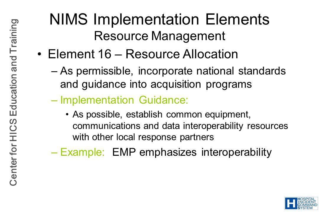 NIMS Implementation Elements Resource Management
