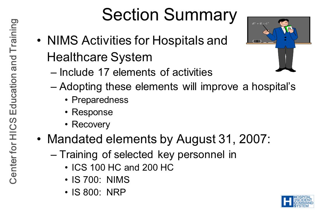 Section Summary NIMS Activities for Hospitals and Healthcare System