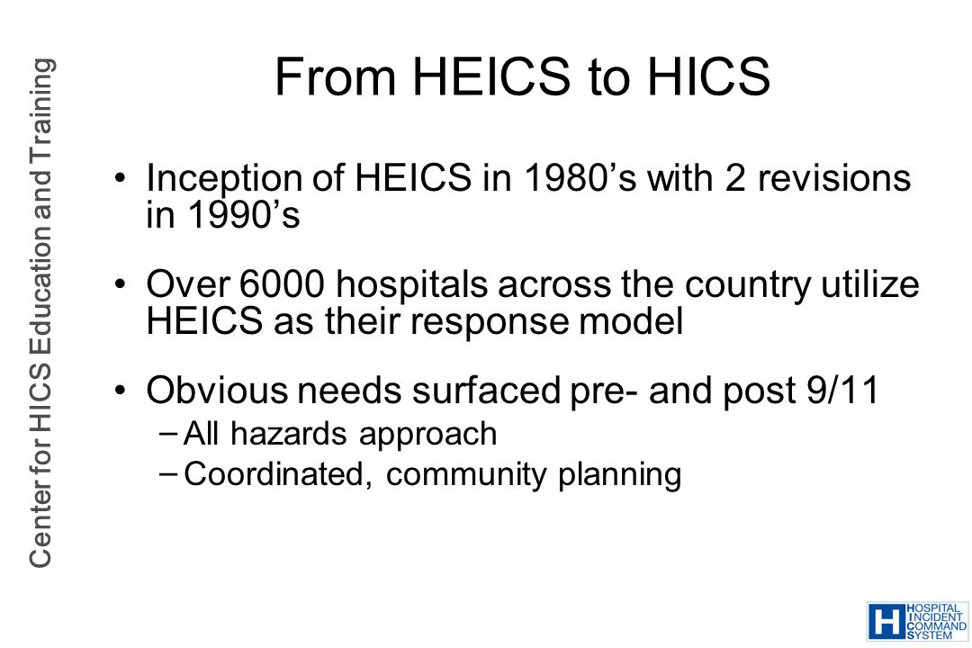 From HEICS to HICS Inception of HEICS in 1980's with 2 revisions in 1990's.