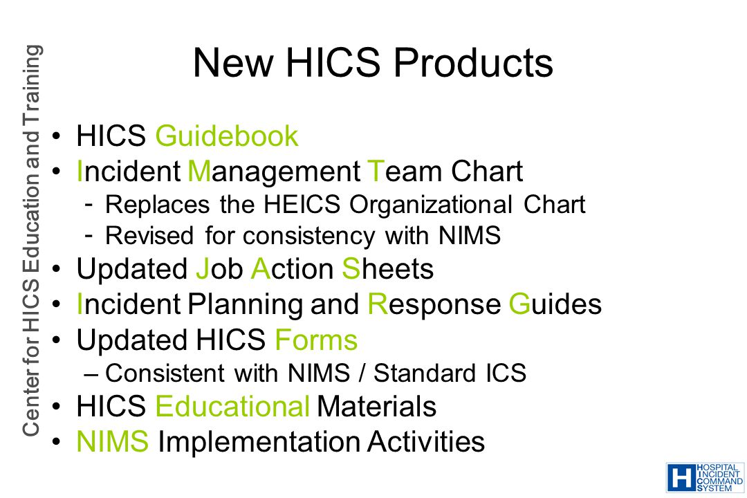 New HICS Products HICS Guidebook Incident Management Team Chart