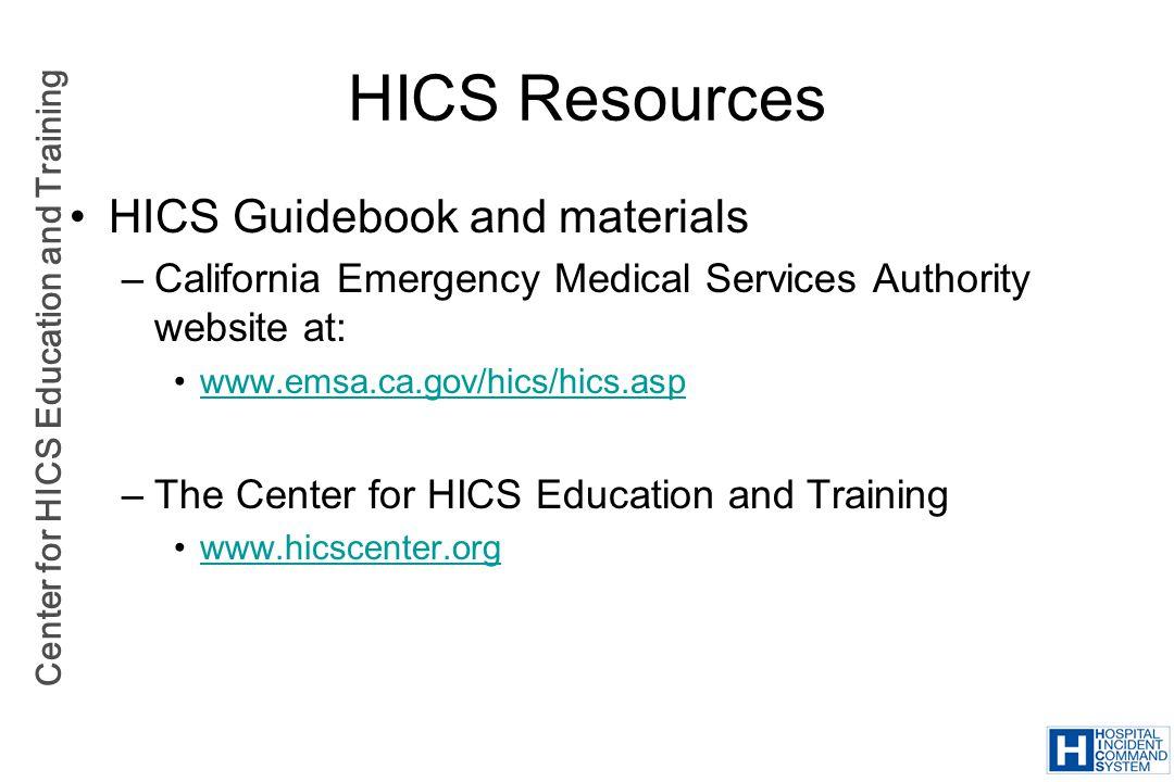 HICS Resources HICS Guidebook and materials