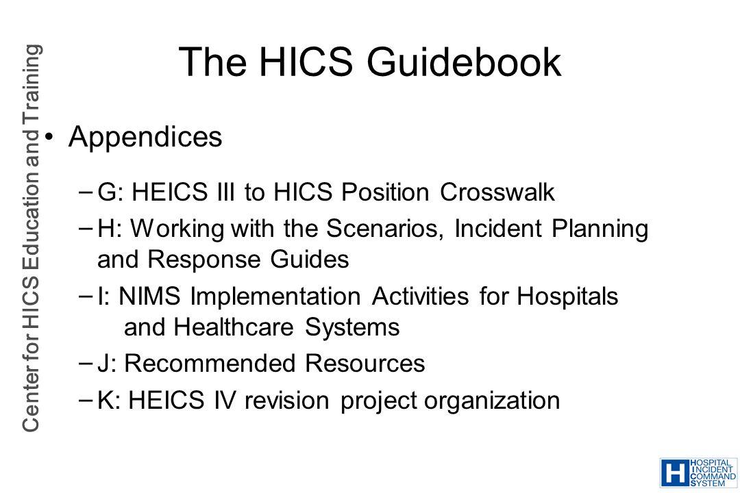 The HICS Guidebook Appendices G: HEICS III to HICS Position Crosswalk
