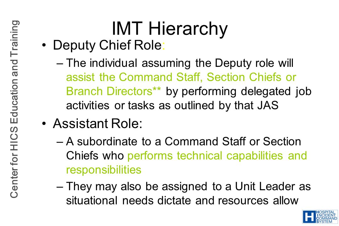 IMT Hierarchy Deputy Chief Role: Assistant Role: