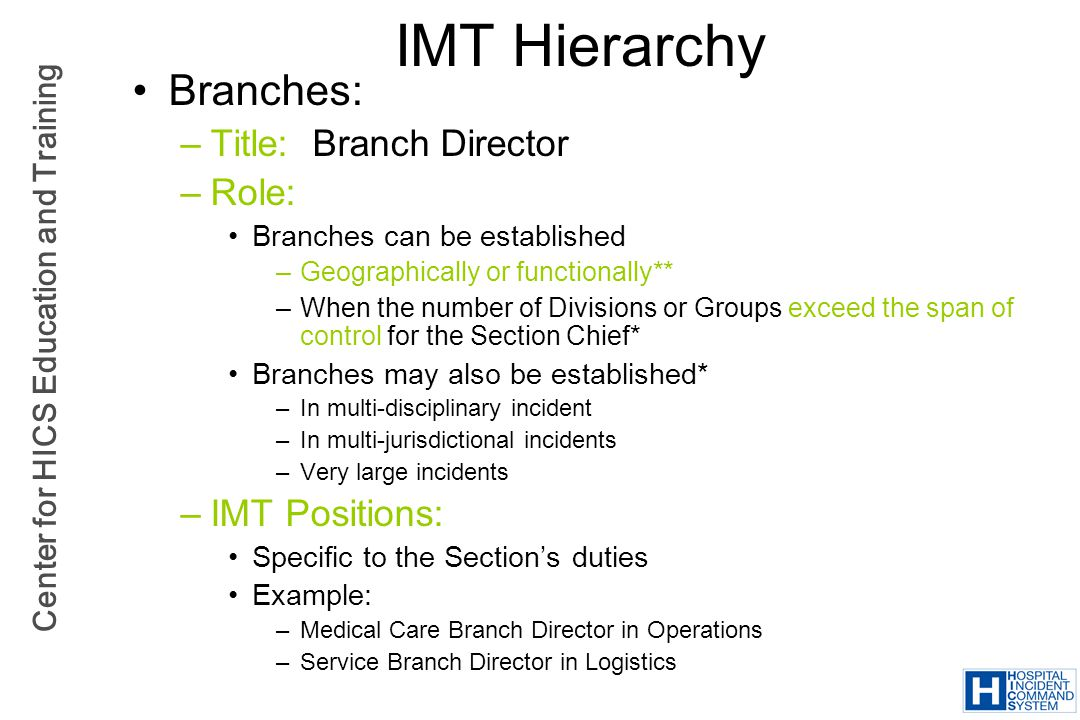 IMT Hierarchy Branches: Title: Branch Director Role: IMT Positions: