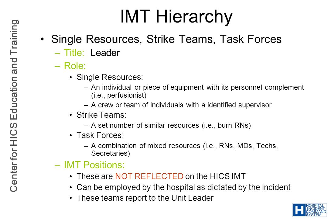 IMT Hierarchy Single Resources, Strike Teams, Task Forces