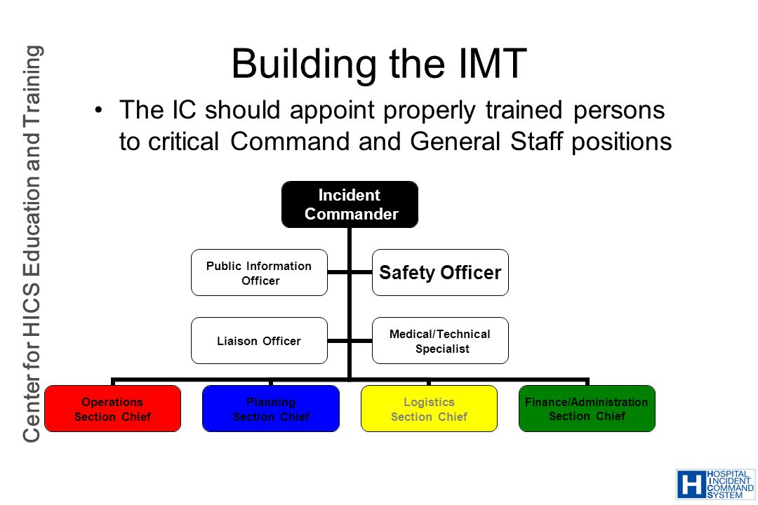 Building the IMT The IC should appoint properly trained persons to critical Command and General Staff positions.
