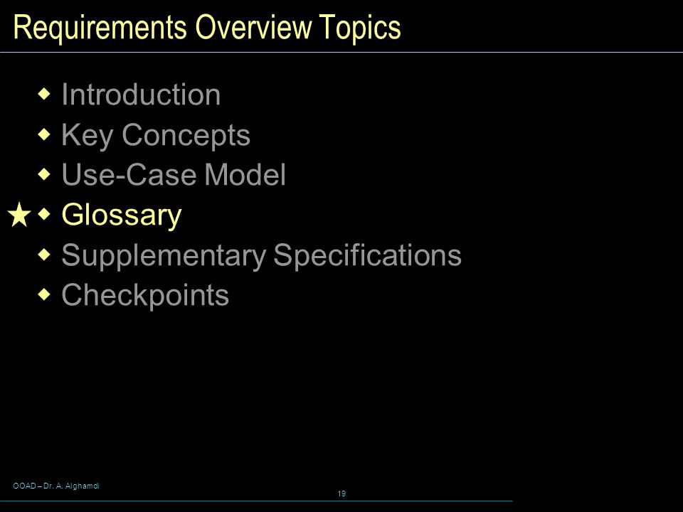 Requirements Overview Topics
