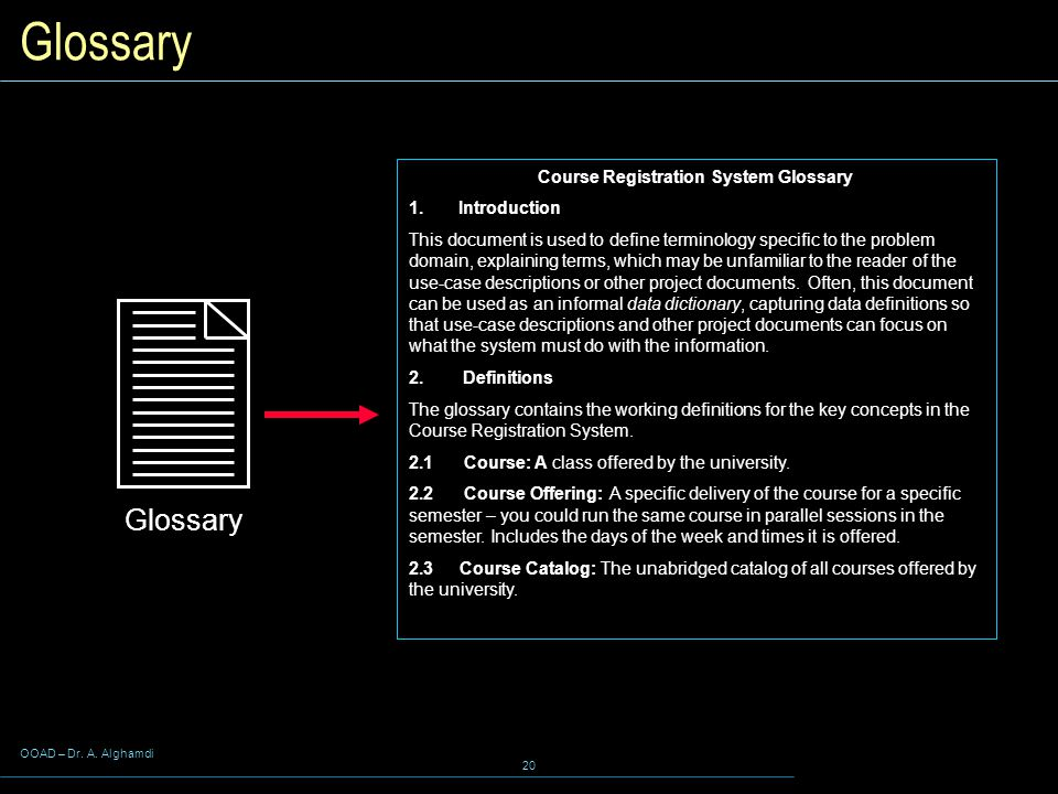 Course Registration System Glossary
