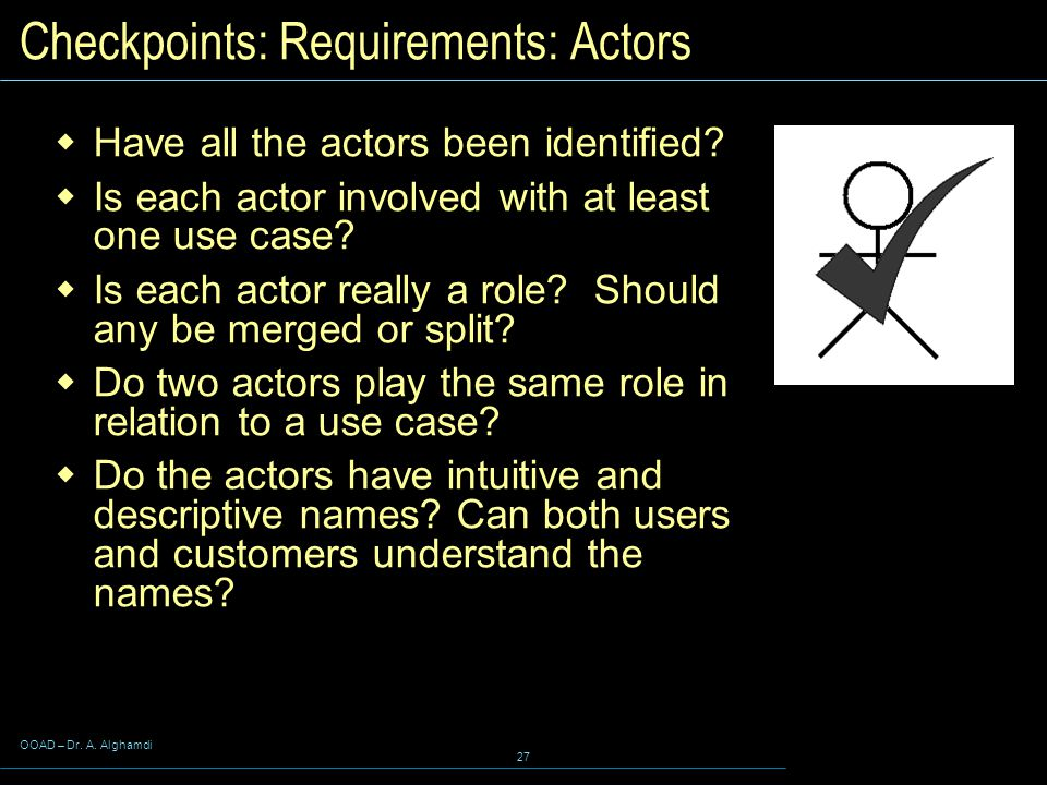Checkpoints: Requirements: Actors