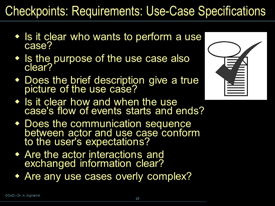 Checkpoints: Requirements: Use-Case Specifications