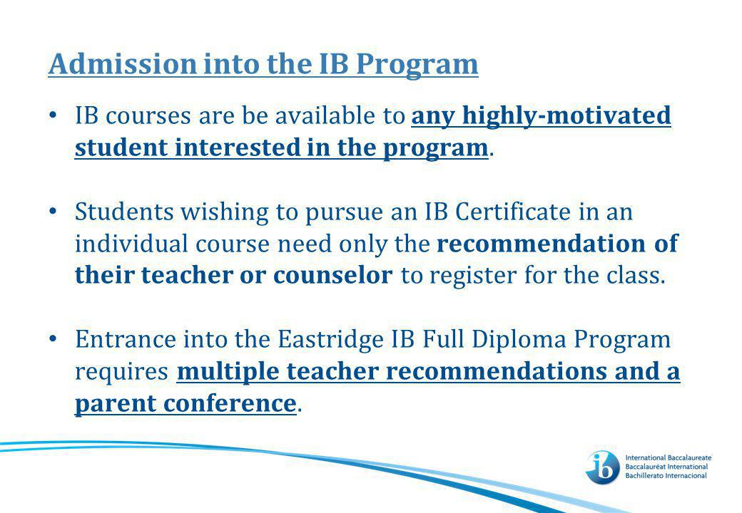 Admission into the IB Program