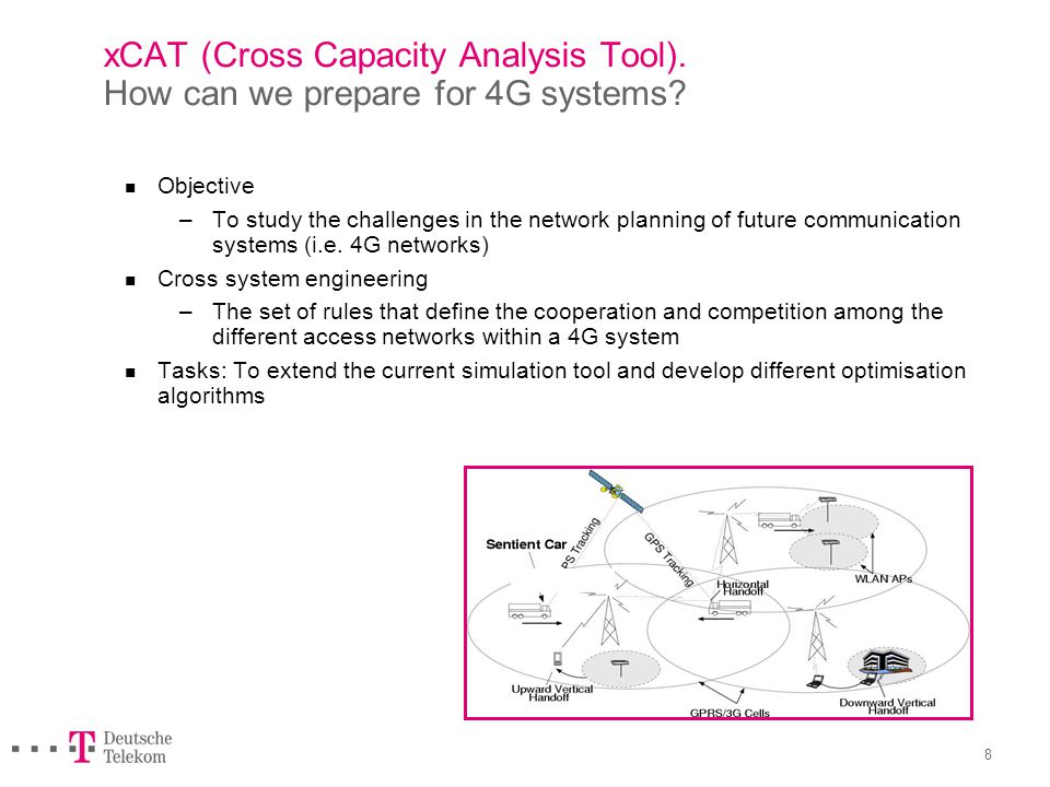 7 xCAT (Cross Capacity Analysis Tool). How can we prepare for 4G systems Relevance.