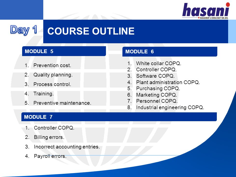 Day 1 COURSE OUTLINE MODULE 5 MODULE 6 Prevention cost.