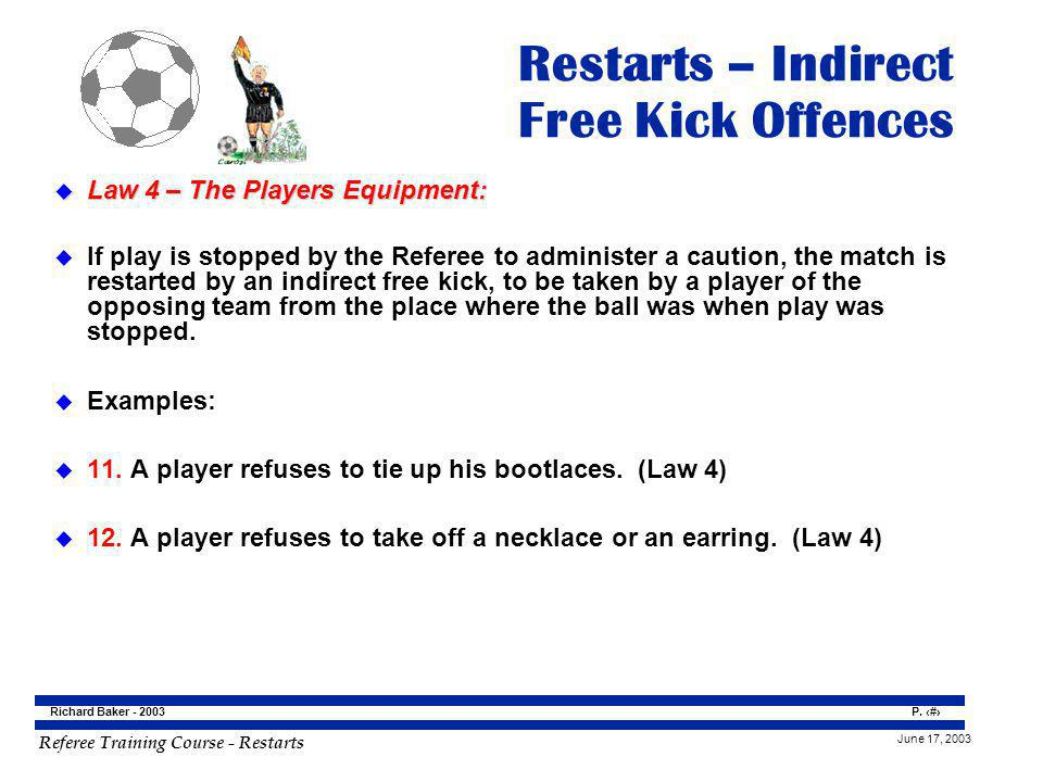 Restarts – Indirect Free Kick Offences
