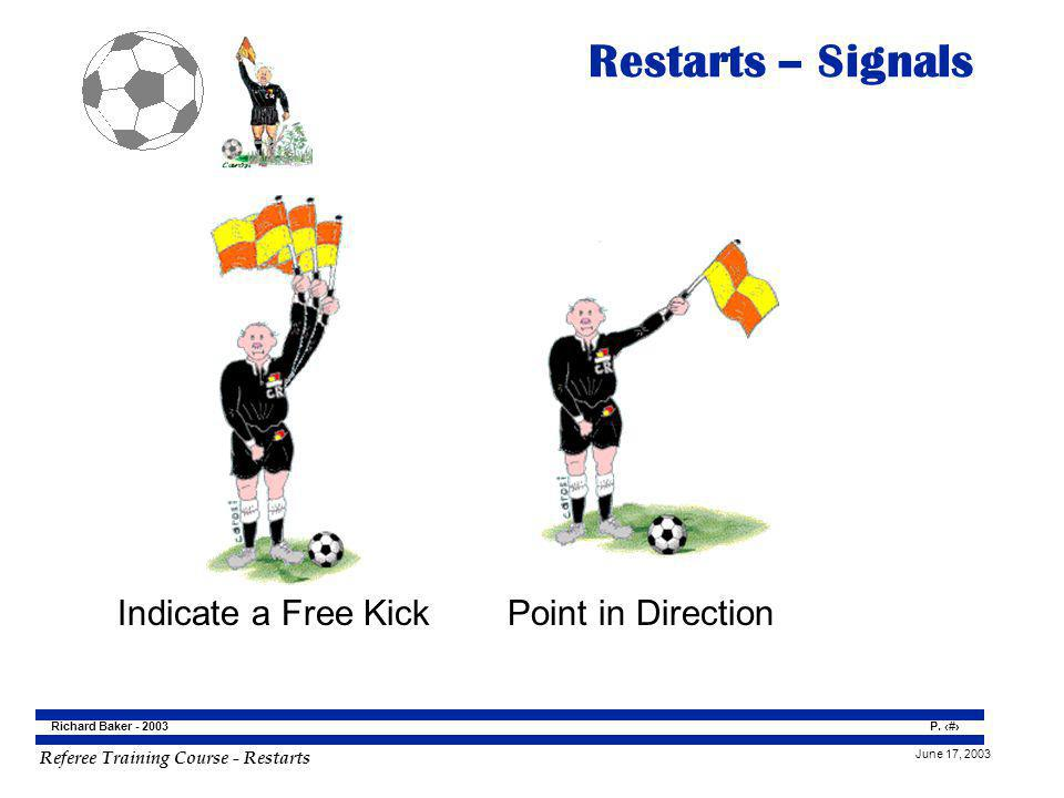 Restarts – Signals Indicate a Free Kick Point in Direction