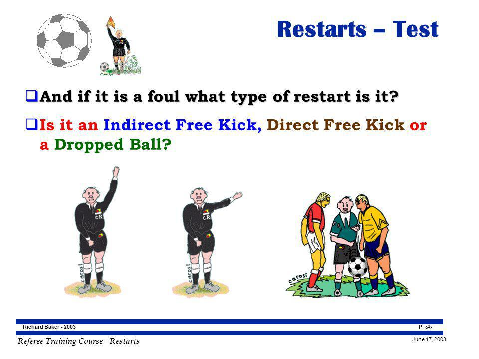 Restarts – Test And if it is a foul what type of restart is it